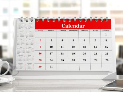 Calendar and a cup of coffee, office background. 3d illustration