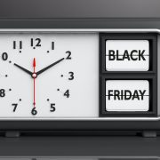 Old retro alarm clock, black Friday, desk, background, 3d illustration